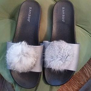Womens fur ball sandals
